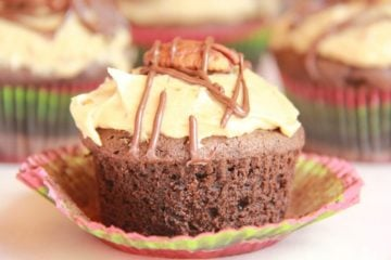 Chocolate Bourbon Cupcakes with Butter Pecan Frosting