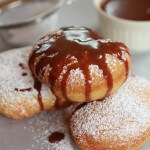 Beignets….filled with Chocolate…..then drizzled with Chocolate Hazelnut Sauce