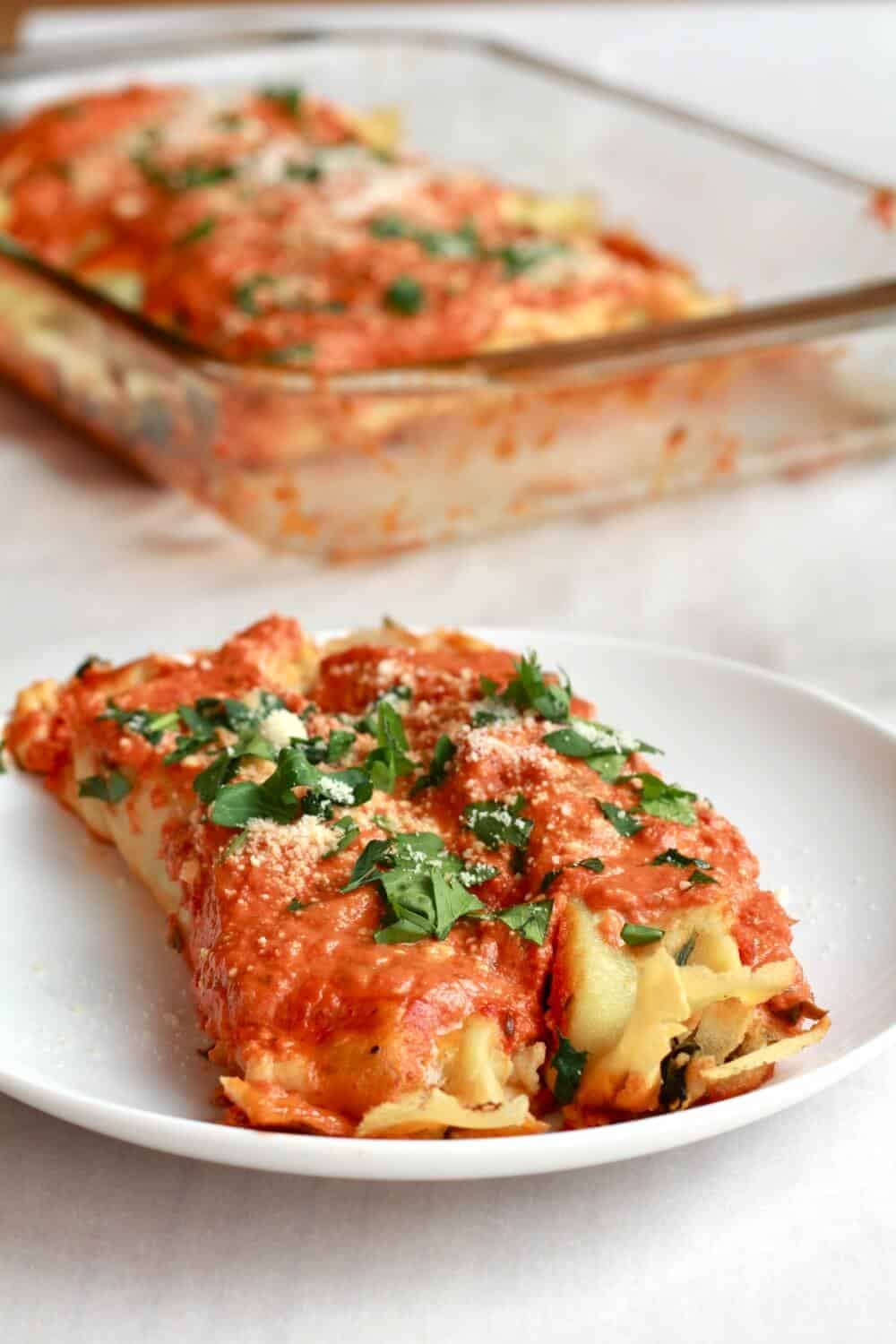 Italian Spinach and Crepe Manicotti - Half Baked Harvest