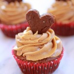 Valentine Brownie Cupcakes with Peanut Butter Frosting