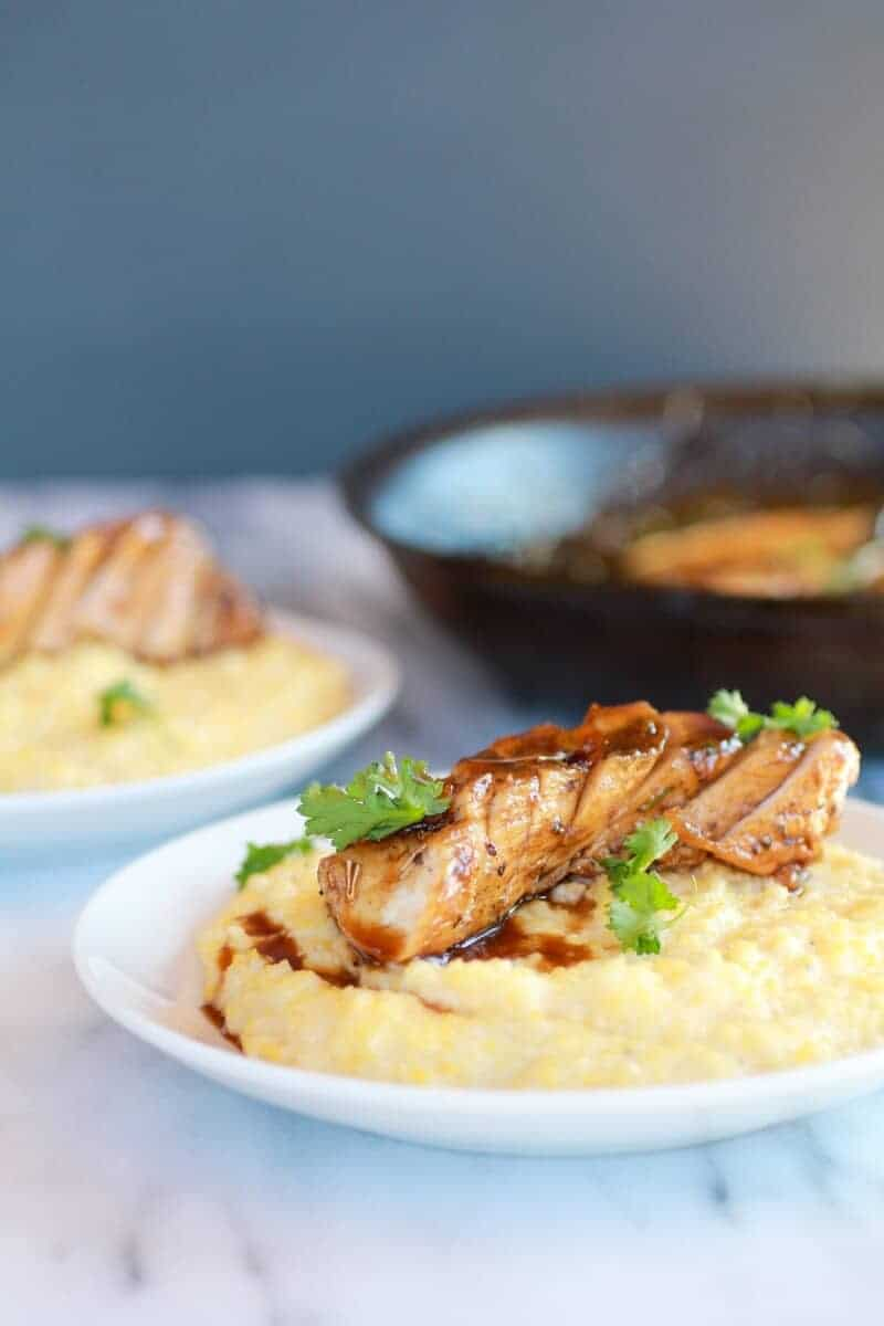 Balsamic Orange Glazed Chicken with Creamy Goat Cheese Polenta-4