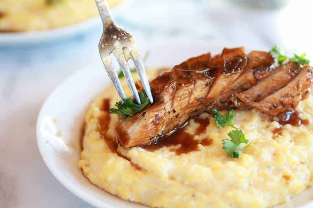 Balsamic Orange Glazed Chicken with Creamy Goat Cheese Polenta-7