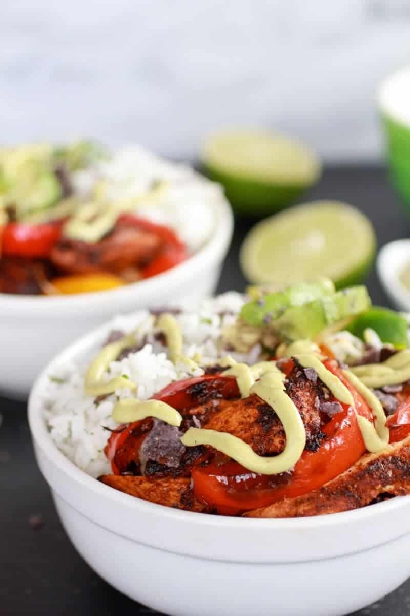 Fiesta Chicken + Cilantro Lime Rice Fajita Bowl with Avocado Chipotle Crema-3