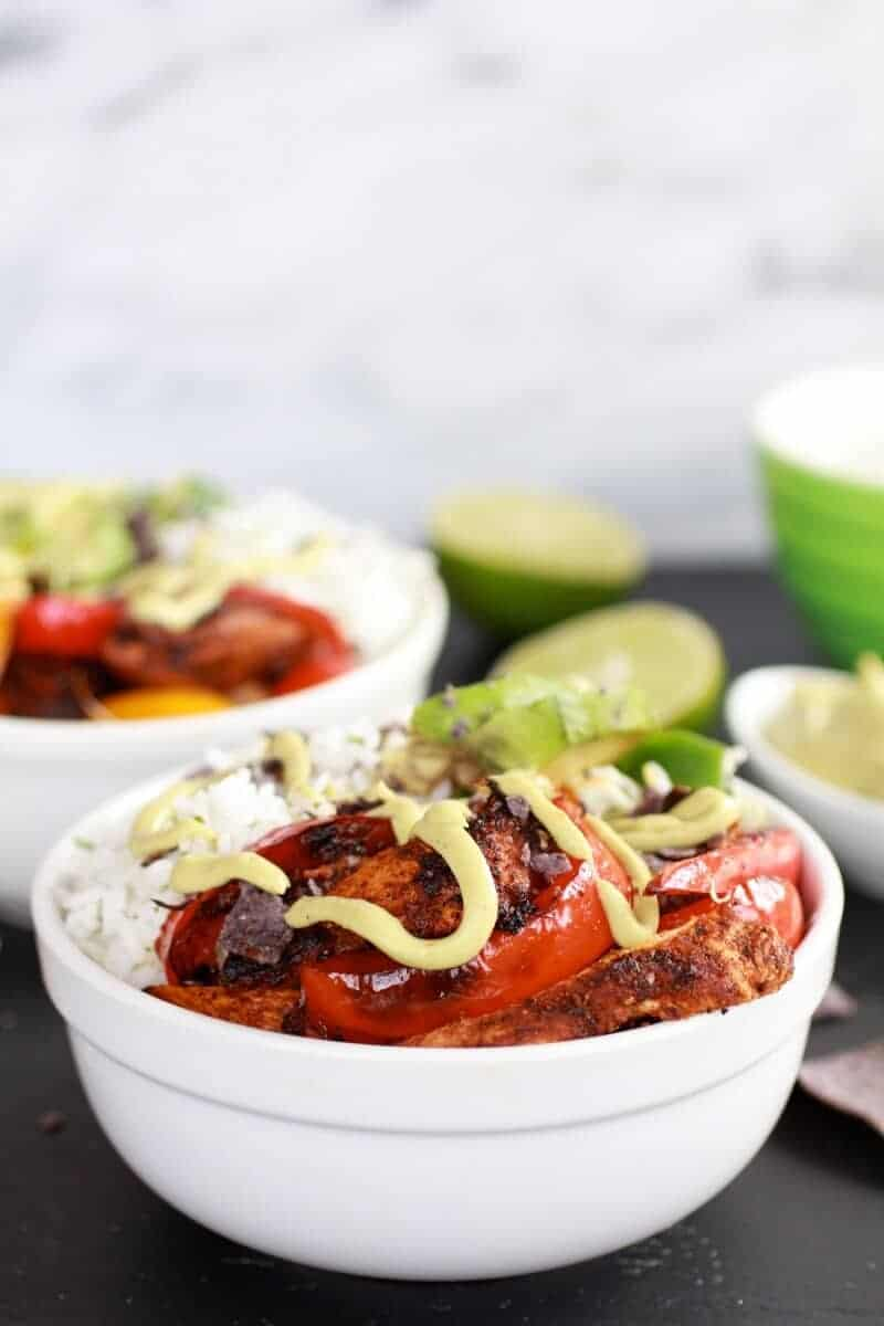 Fiesta Chicken + Cilantro Lime Rice Fajita Bowl with Avocado Chipotle Crema-5