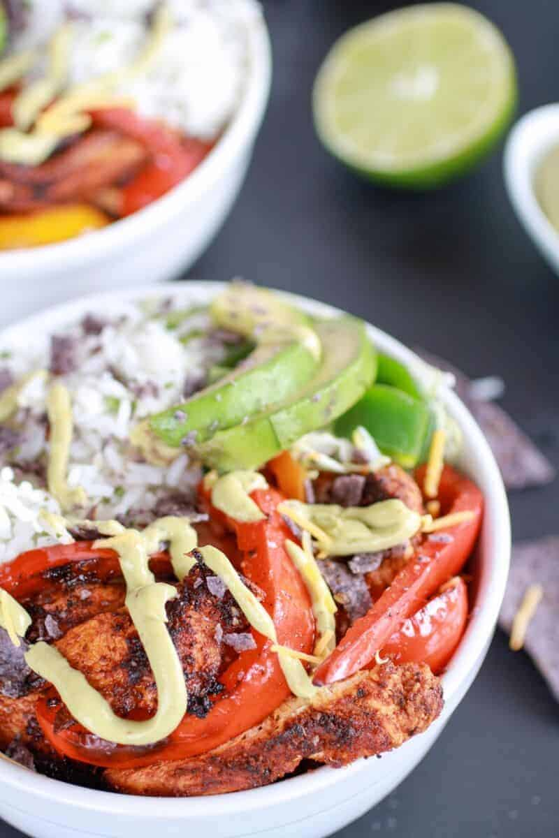 Fiesta Chicken + Cilantro Lime Rice Fajita Bowl with Avocado Chipotle Crema-7