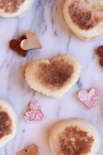 Whole Wheat English Muffins with Strawberry, Peanut Butter, Nutella Butters.