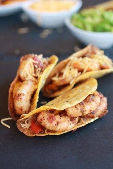 Cajun Shrimp Tacos with homemade Hard Taco Shell's