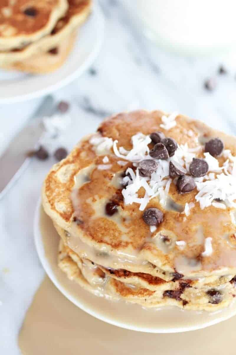 Whole Wheat Chocolate Chip Banana Bread Pancakes with a Vanilla Coconut Glaze-10