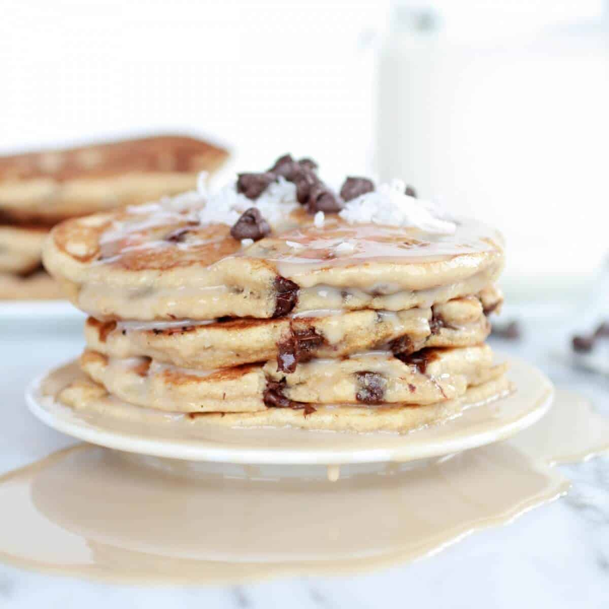 Whole Wheat Chocolate Chip Banana Bread Pancakes with a Vanilla Coconut Glaze-18