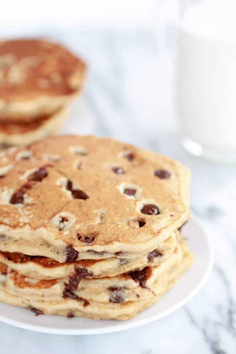 Whole Wheat Chocolate Chip Banana Bread Pancakes with a Vanilla Coconut Glaze-5