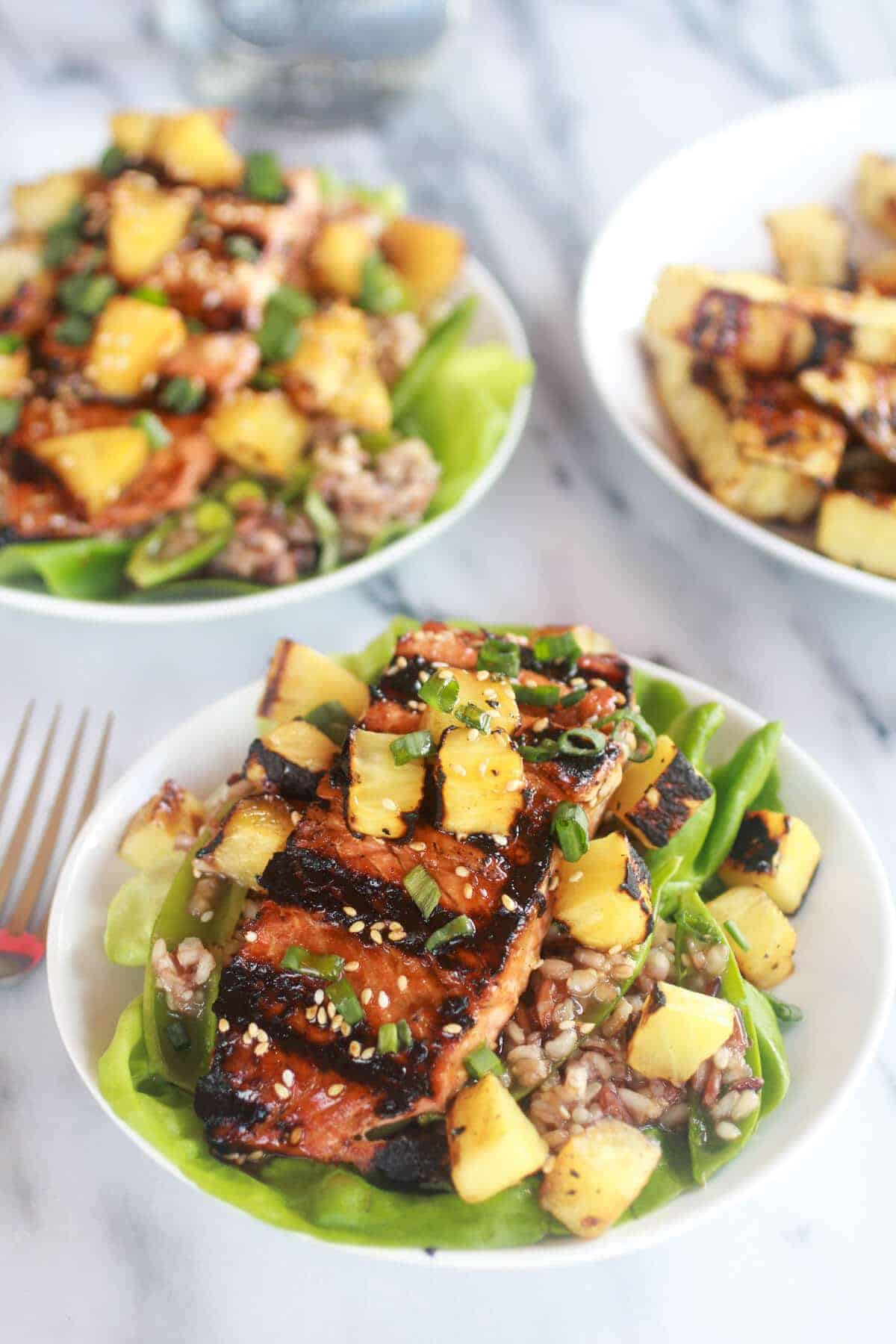 Asian Grilled Salmon Pineapple and Rice Lettuce Wraps-1