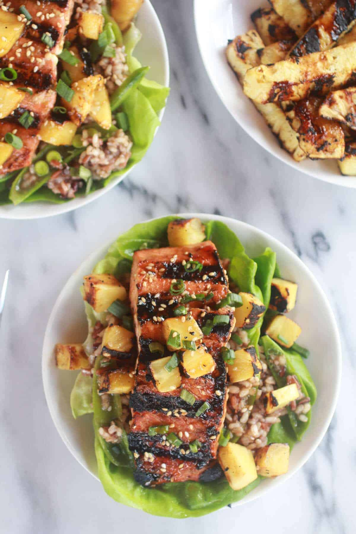 Asian Grilled Salmon Pineapple and Rice Lettuce Wraps-10