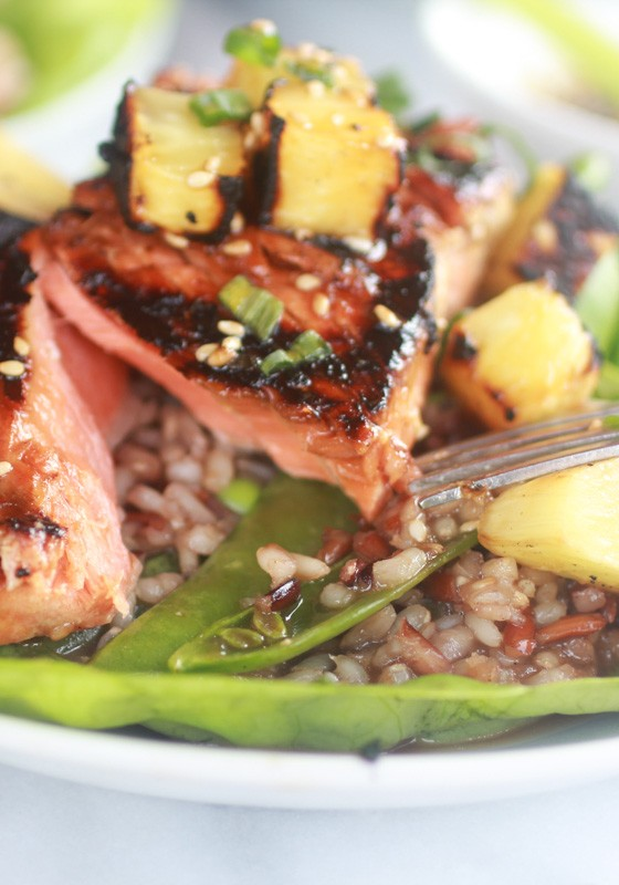 Asian Grilled Salmon Pineapple and Rice Lettuce Wraps-12