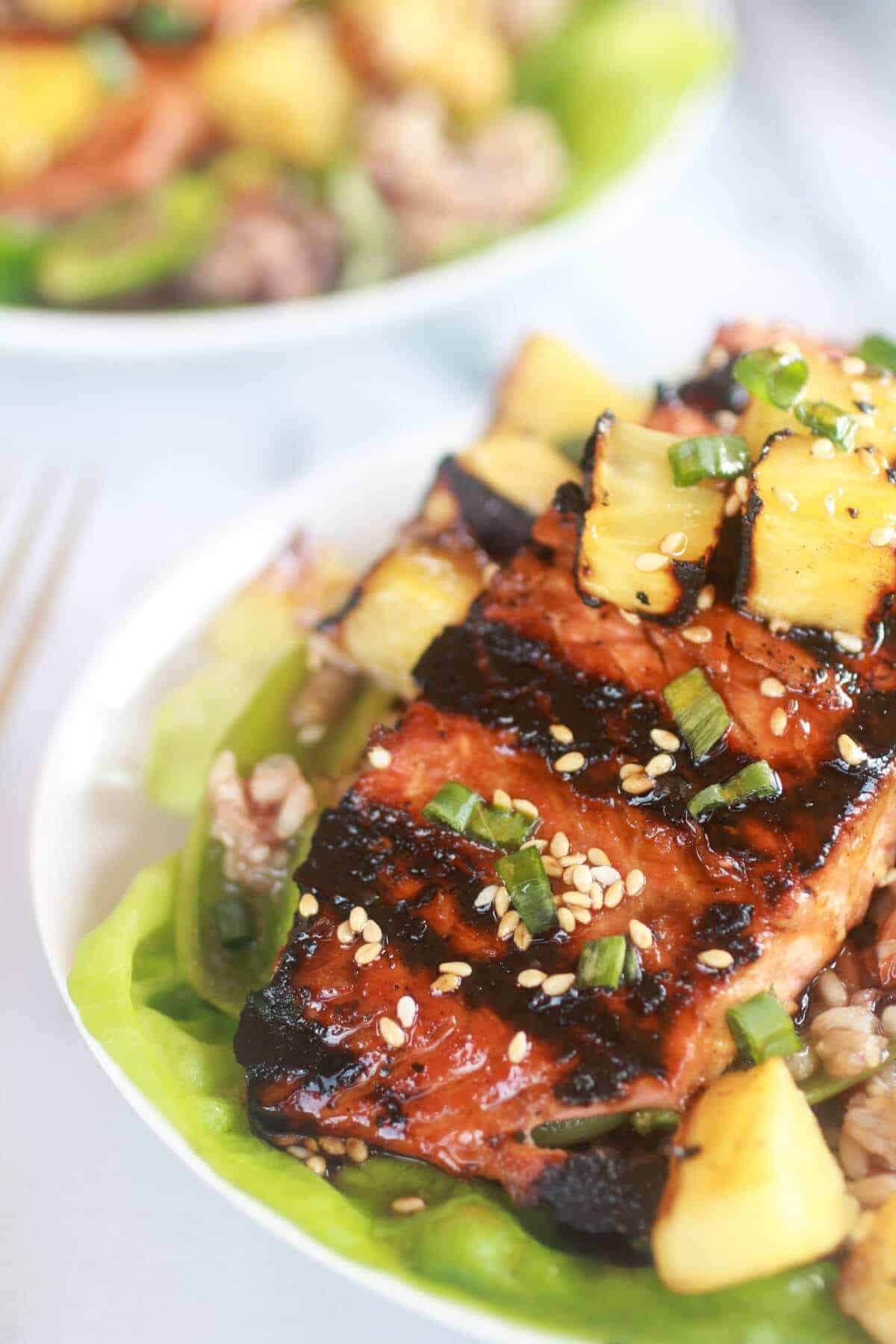Asian Grilled Salmon Pineapple and Rice Lettuce Wraps-7