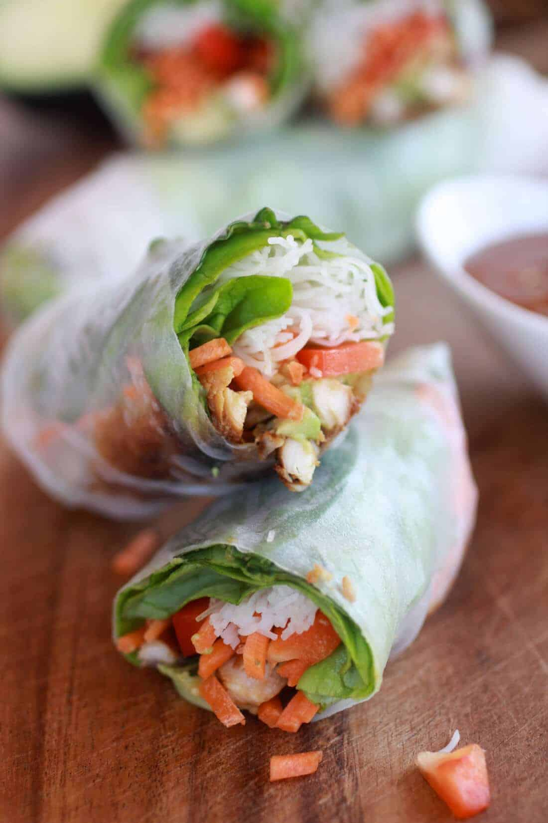 Non-Fried Springs Rolls with Vietnamese Chicken and Avocados - Half Baked Harvest