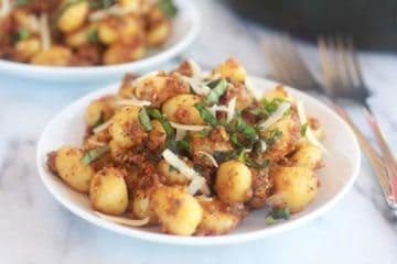 Crispy Gnocchi with Pistachio Pesto.
