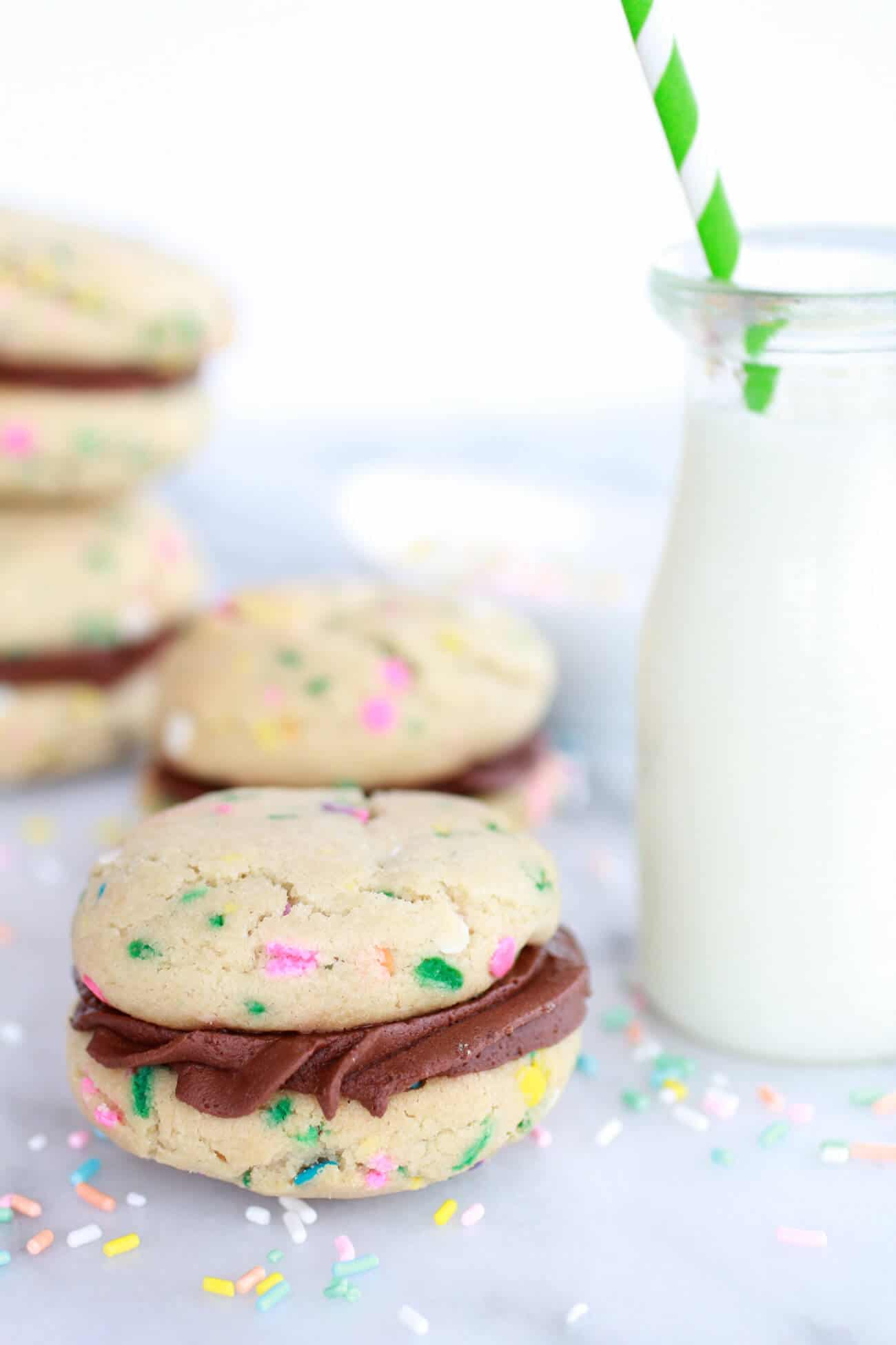 Funfetti Sandwich Cookies with Chocolate Gancahe Frosting-1