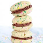 Homemade Funfetti Sandwich Cookies with Chocolate Ganache Frosting.