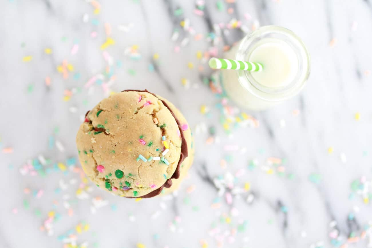 Funfetti Sandwich Cookies with Chocolate Gancahe Frosting-9
