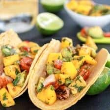 Mahi Mahi Fish Tacos with Chipotle Mango Salsa.