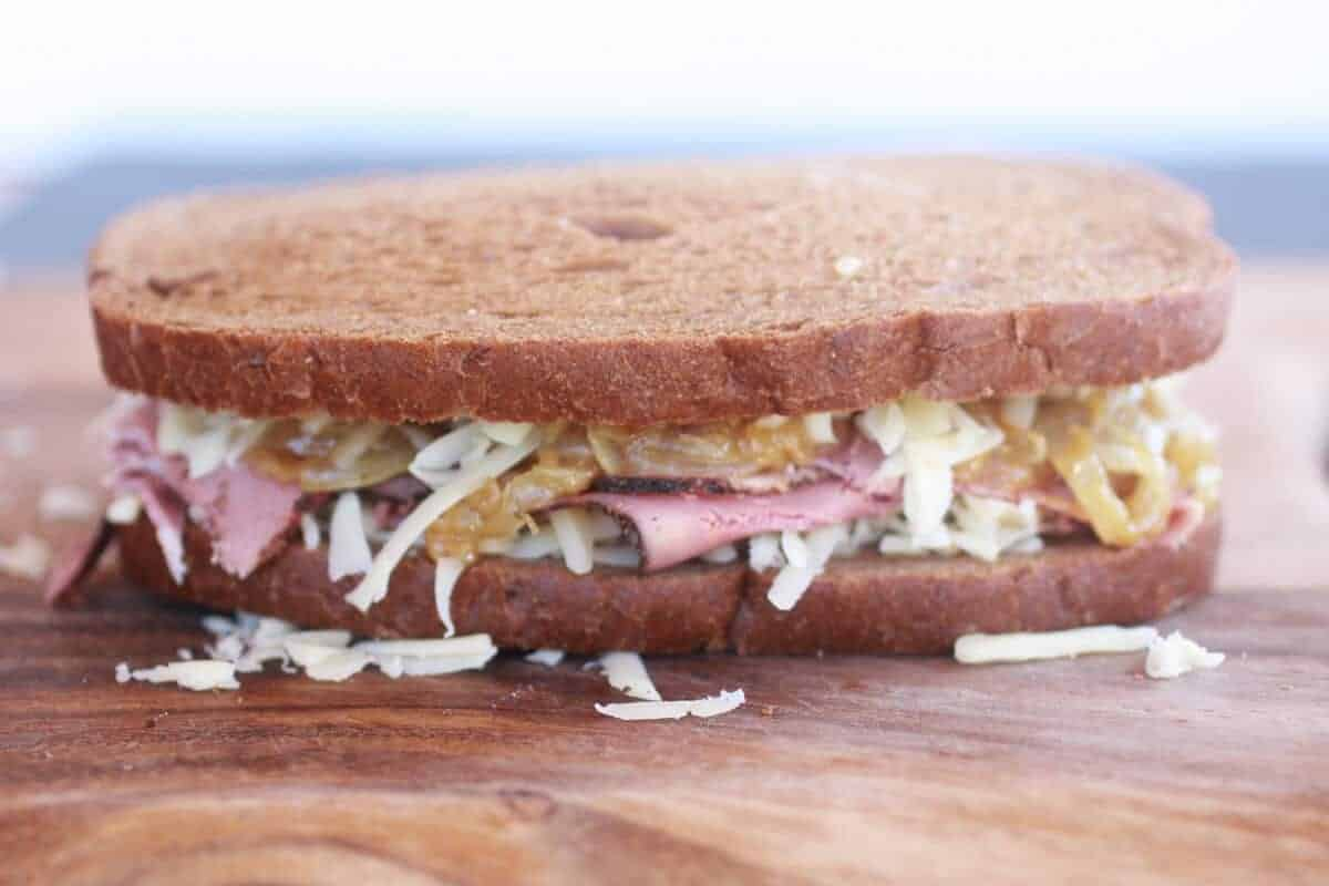 Pastrami and Caramelized Onion Grilled Cheese-3