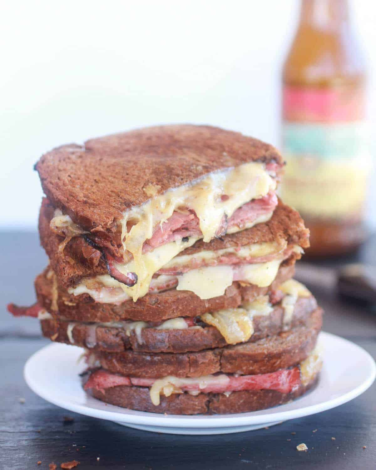 Pastrami and Caramelized Onion Grilled Cheese-8