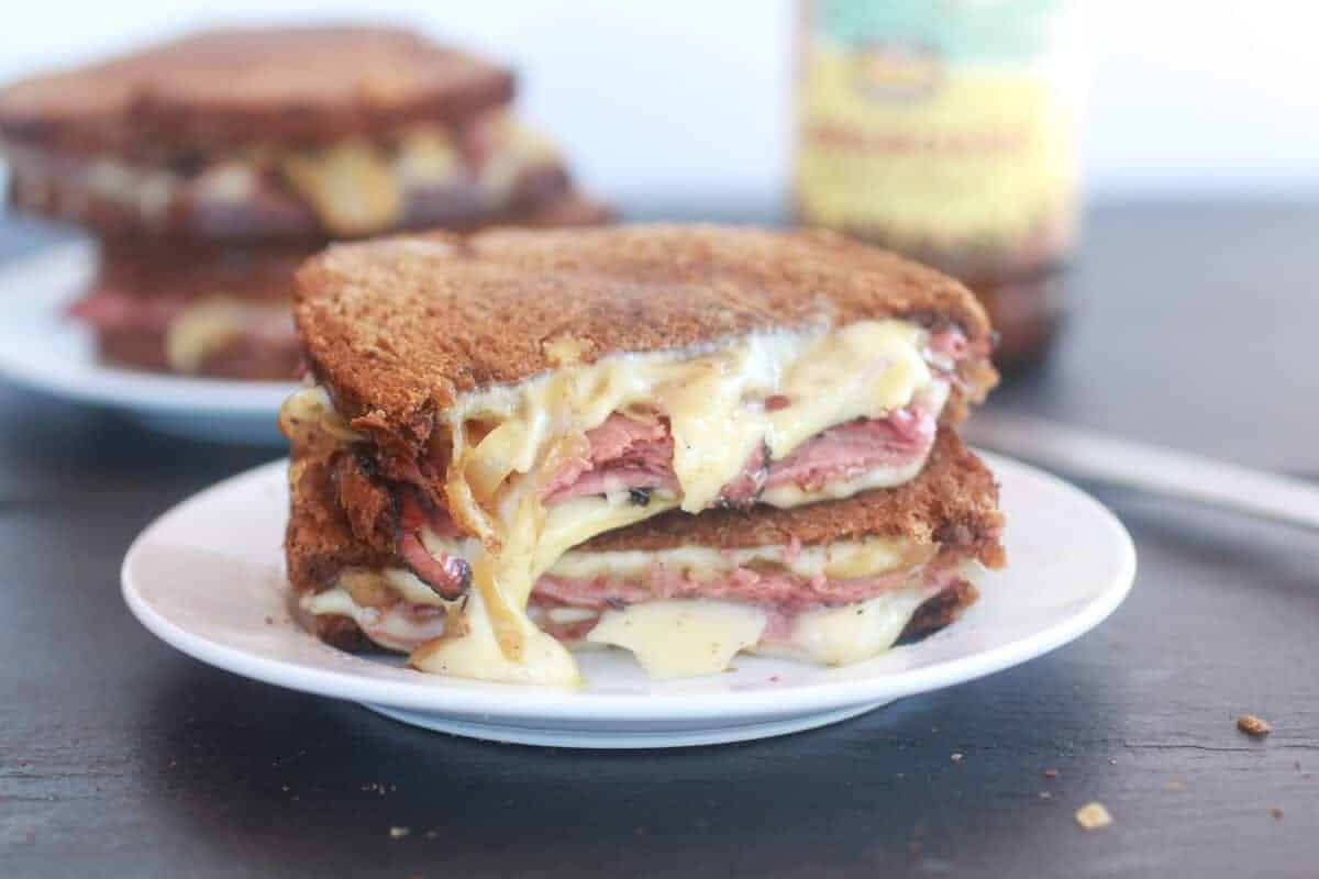Pastrami and Caramelized Onion Grilled Cheese-9