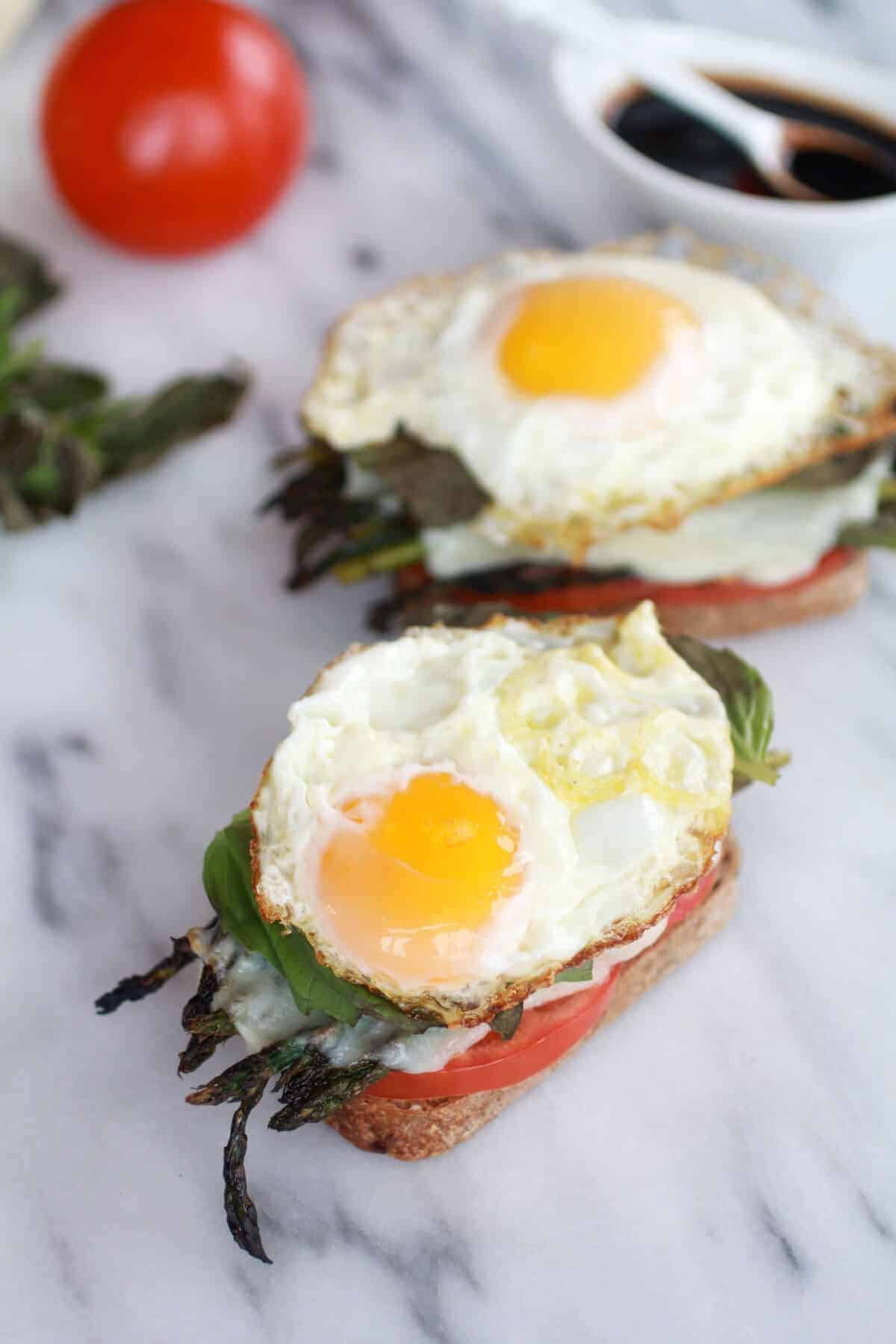 Roasted Asparagus Caprese Melt with Balsamic Drizzle and Fried Egg-4