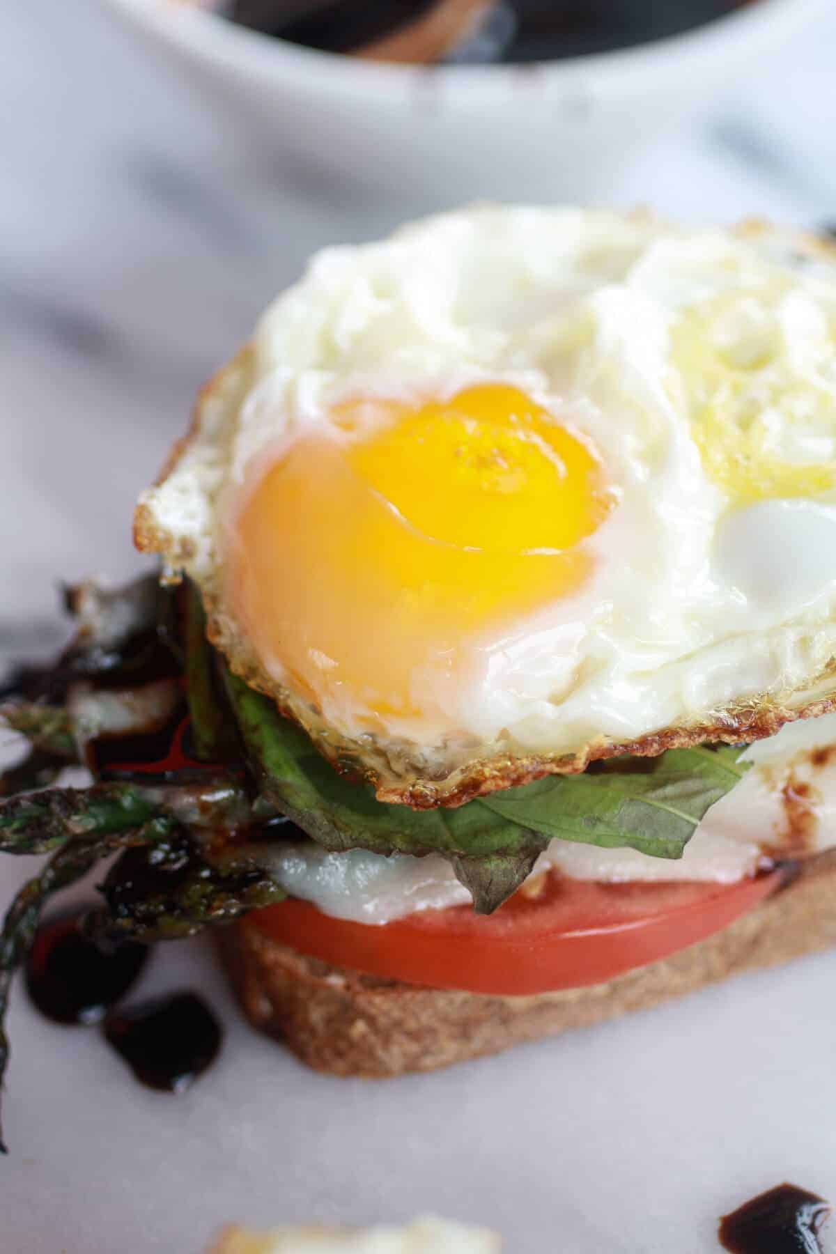 Roasted Asparagus Caprese Melt with Balsamic Drizzle and Fried Egg-6
