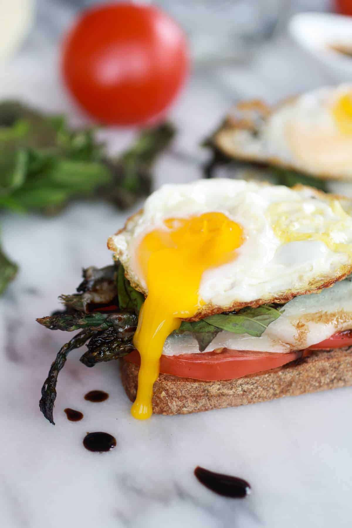Roasted Asparagus Caprese Melt with Balsamic Drizzle and Fried Egg-7