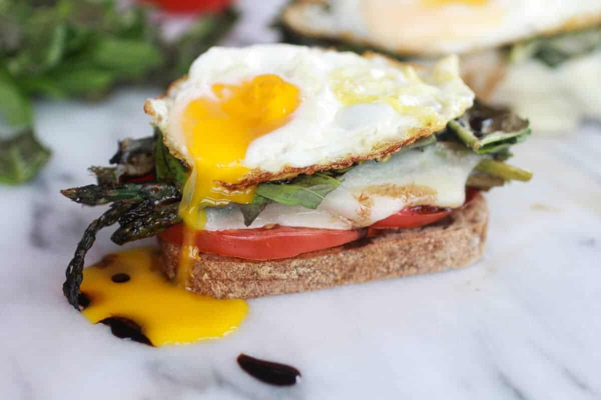 Roasted Asparagus Caprese Melt with Balsamic Drizzle and Fried Egg-8