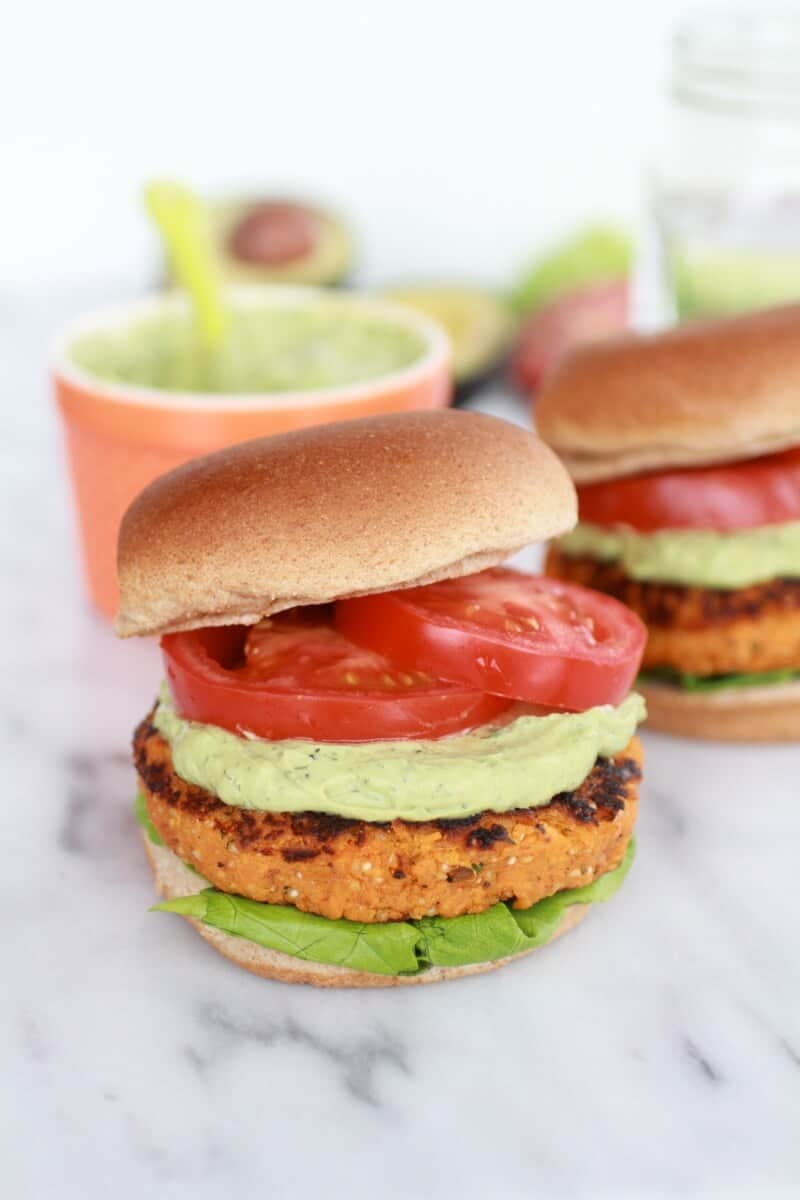 Roasted Garlic Chipotle Cheddar Sweet Potato Burgers with Avocado Ranch-1