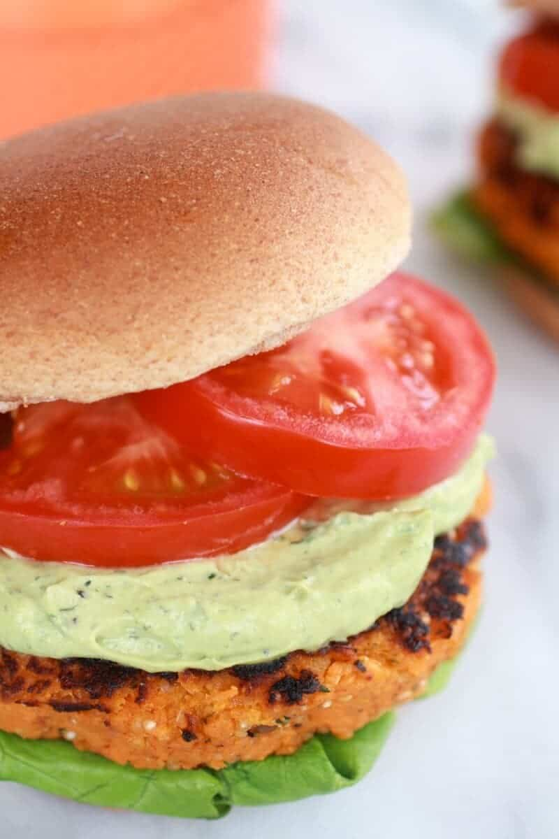 Roasted Garlic Chipotle Cheddar Sweet Potato Burgers with Avocado Ranch-10