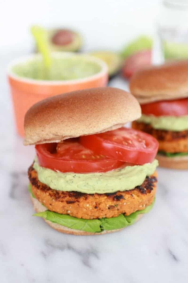 Roasted Garlic Chipotle Cheddar Sweet Potato Burgers with Avocado Ranch-12