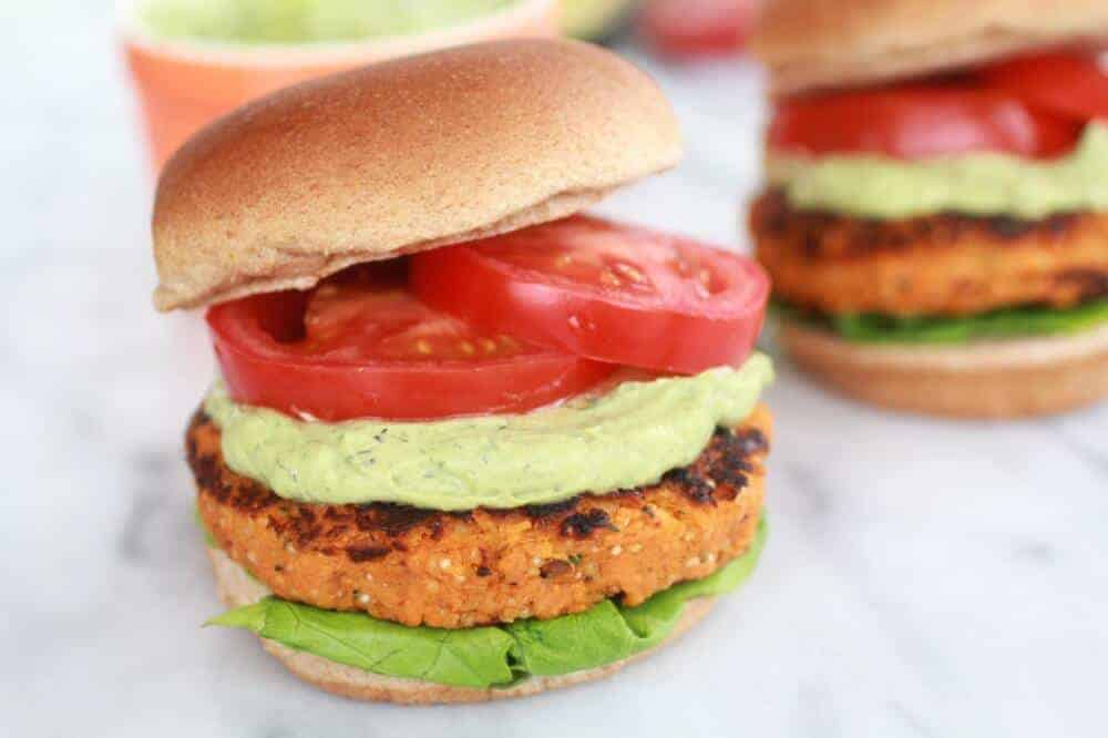 Roasted Garlic Chipotle Cheddar Sweet Potato Burgers with Avocado Ranch-14