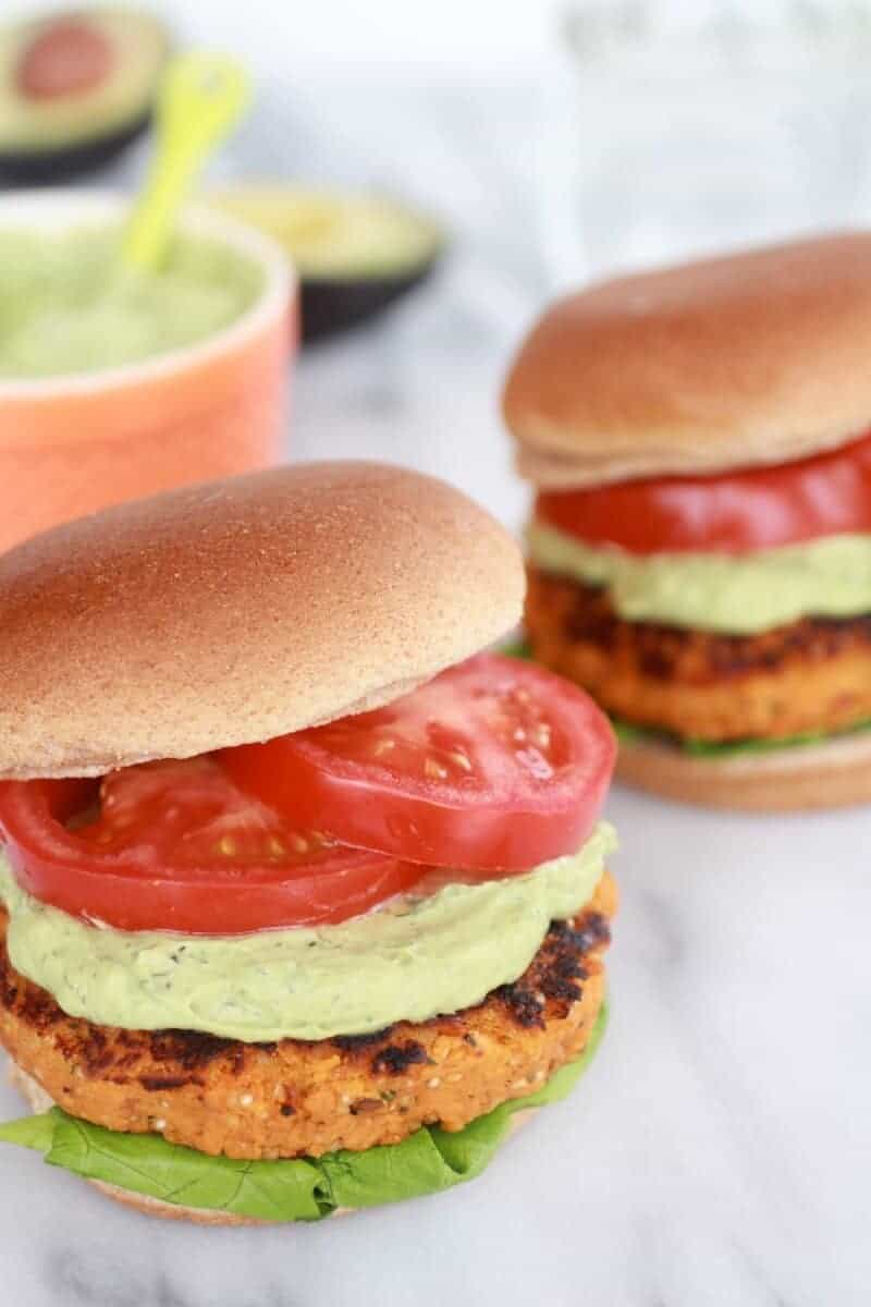 Roasted Garlic Chipotle Cheddar Sweet Potato Burgers with Avocado Ranch-17