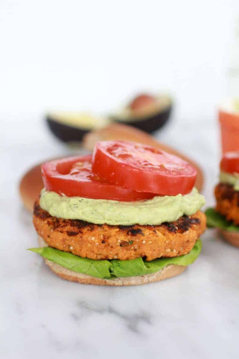 Roasted Garlic Chipotle Cheddar Sweet Potato Burgers with Avocado Ranch-8
