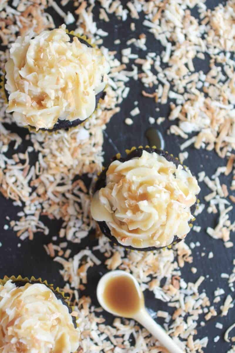 Toasted Coconut Caramel Chocolate Cupcakes-11