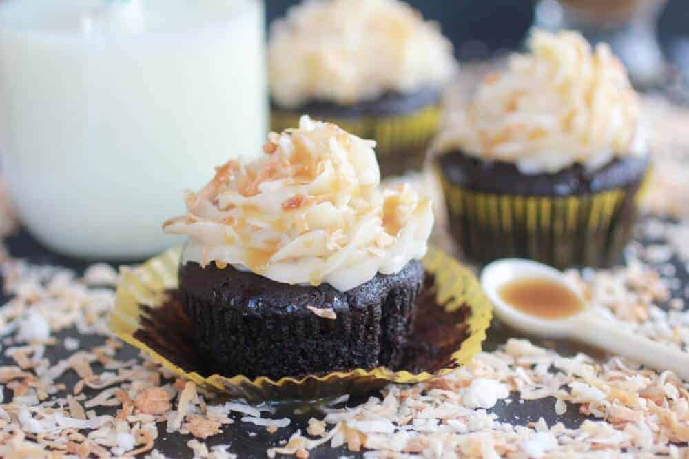Toasted Coconut Caramel Chocolate Cupcakes-13