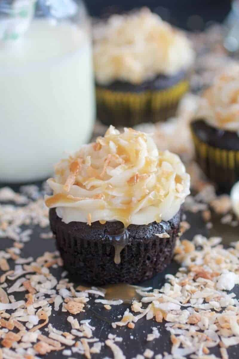 Toasted Coconut Caramel Chocolate Cupcakes-2