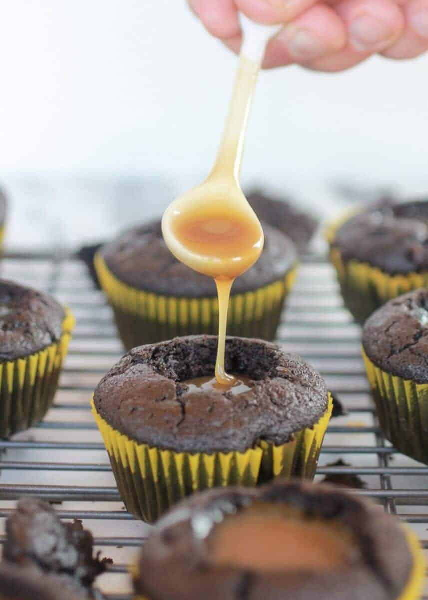 Toasted Coconut Caramel Chocolate Cupcakes-5