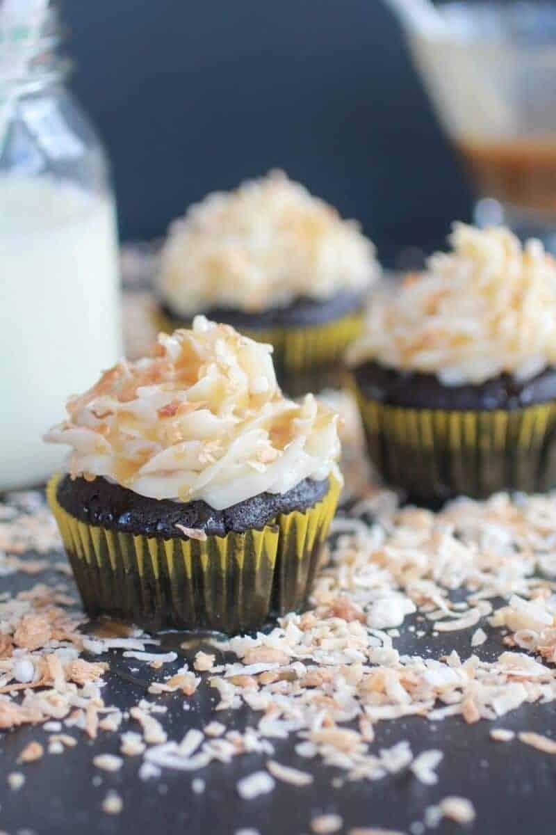 Toasted Coconut Caramel Chocolate Cupcakes-8