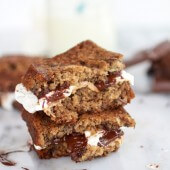 Grilled Banana Bread Peanut Butter S'More with Vanilla Marshmallows-4
