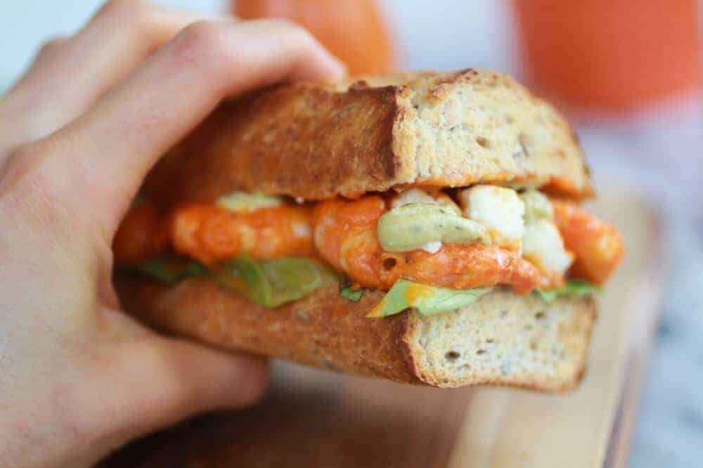 Grilled Buffalo Shrimp Sandwiches with Spicy Avocado Ranch-11