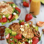 Honey Mustard Pretzel Crusted Chicken Salad with Spicy Honey Mustard Dressing