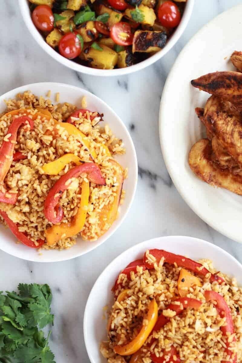Jerk Chicken with Fired Rice and Grilled Pineapple Salsa http://www ...
