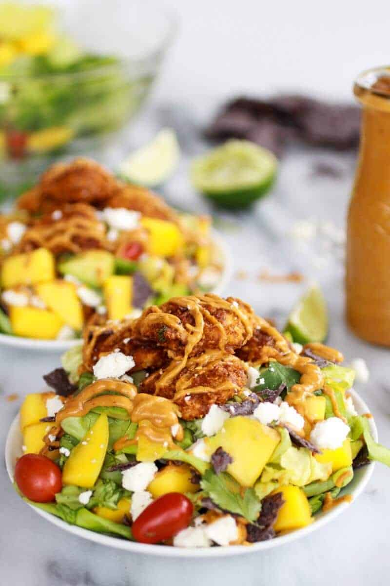 Tortilla Chip Crusted Chicken Salad with Avocado Chipotle Lime Dressing and Queso Fresco | http://www.halfbakedharvest.com/