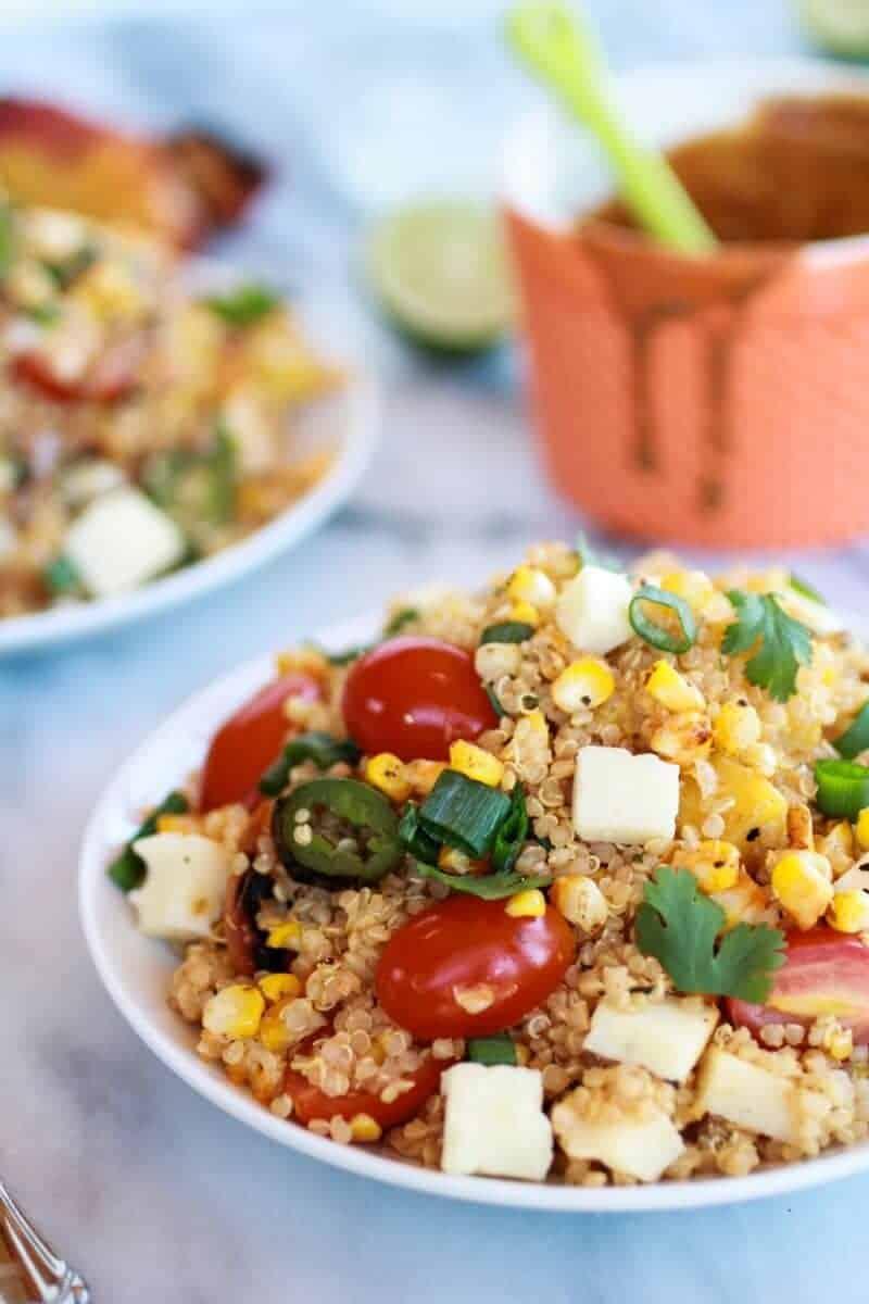 BBQ Grilled Corn, Jalapeño and Peach Quinoa Salad | https://www ...