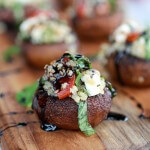 Caprese Quinoa Grilled Stuffed Mushrooms with Balsamic Glaze.