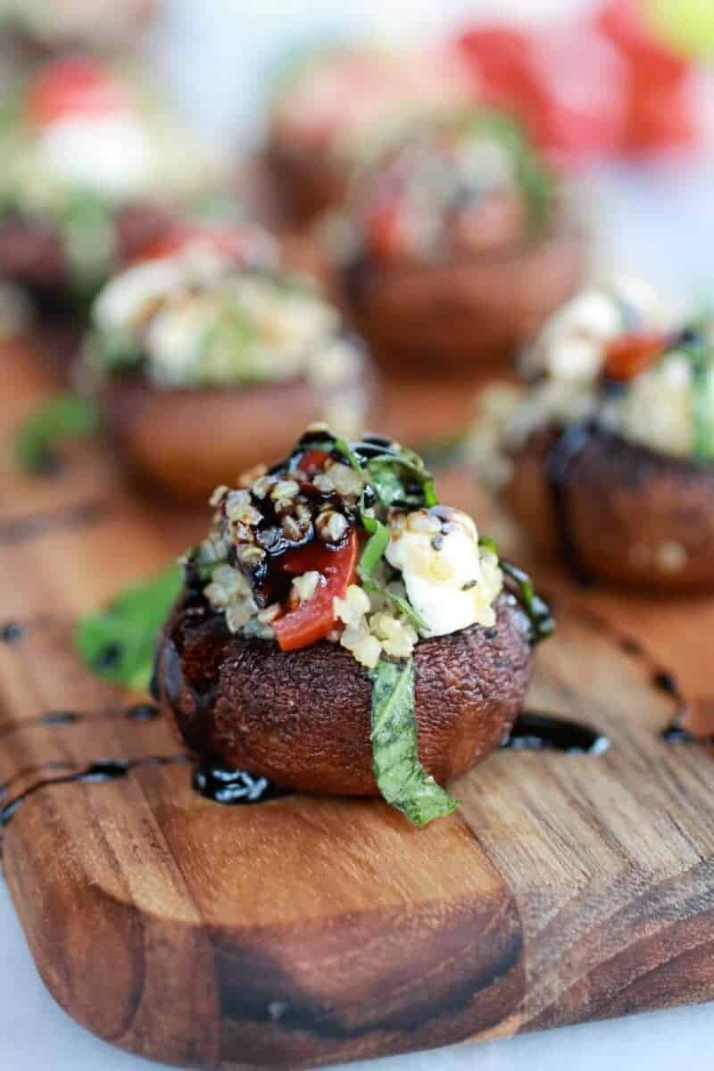 Caprese Quinoa Grilled Stuffed Mushrooms with Balsamic Glaze-11